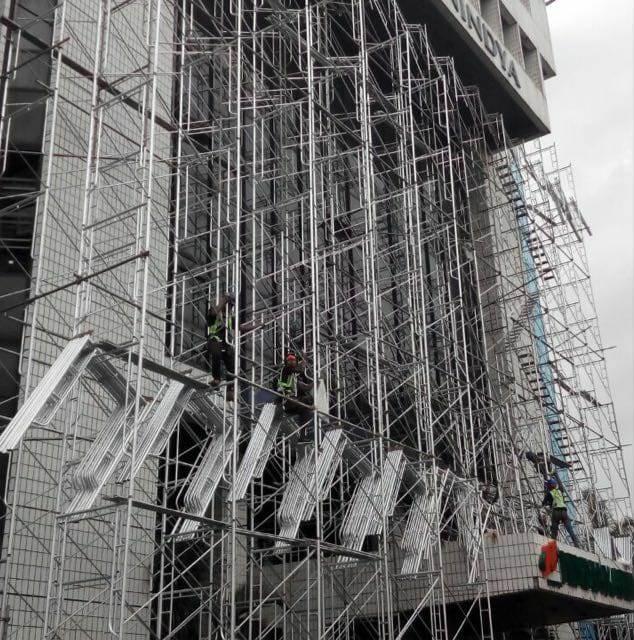 Pemasangan Scaffolding Gedung Nindya Karya